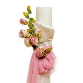 Λαμπάδα Γάμου με Τριαντάφυλλα σατέν και Τούλι