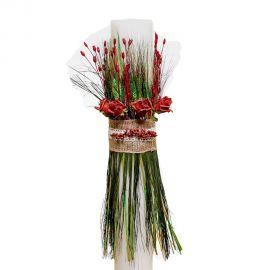 Λαμπάδα Γάμου με Άνθη με Αποξηραμένα Άνθη και Λινάτσα