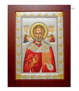 Ασημένια Εικόνα Άγιος Νικόλαος Βυζαντινός