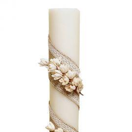 Λαμπάδα Γάμου Διαμέτρου 15cm με Λινάτσα Δαντέλα και Άνθη