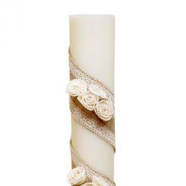 Λαμπάδα Γάμου Διαμέτρου 15cm με Τριαντάφυλλα και Στολισμό Λινάτσας και Δαντέλας