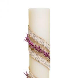 Λαμπάδα Γάμου Διαμέτρου 15cm με Λινάτσα, Δαντέλα και Άνθη Λεβάντας