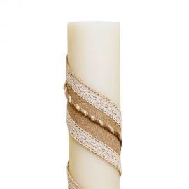 Λαμπάδα Γάμου Διαμέτρου 15cm με Λινάτσα, Δαντέλα και Κορδόνι