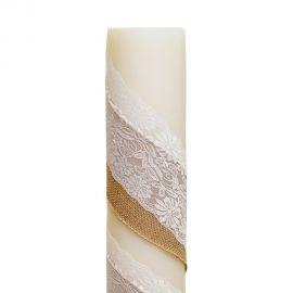 Λαμπάδα Γάμου Διαμέτρου 15cm με Στολισμό Δαντέλας και Λινάτσας