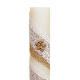 Λαμπάδα Γάμου Διαμέτρου 15cm με Λουλούδια Λινάτσας και Δαντέλα