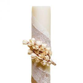 Λαμπάδα Γάμου Διαμέτρου 15cm με Δαντέλα, Λινάτσα και Άνθη