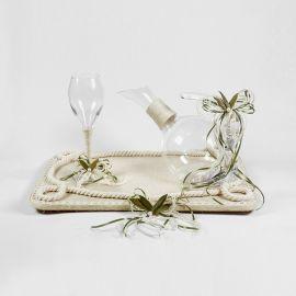 Σετ γάμου με λινάτσα εκρού,δαντέλα και φύλλα ελιάς