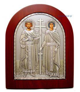 Ασημένια Εικόνα Άγιος Κωνσταντίνος - Ελένη
