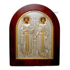 Ασημένια Εικόνα Άγιος Κωνσταντίνος - Ελένη (Χρυσή Διακόσμηση)