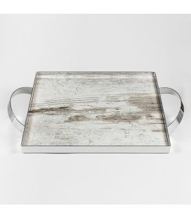 Silver Plated Tray SILVER VINTAGE WOOD