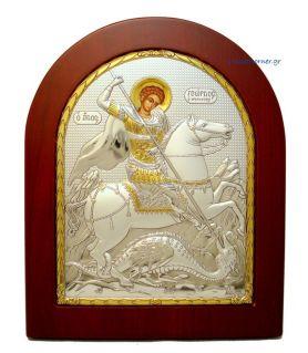 Ασημένια Εικόνα Άγιος Γεώργιος (Χρυσή Διακόσμηση)