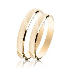 Χρυσή Βέρα Γάμου Σατινέ με Λουστρέ Λεπτομέριες