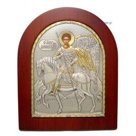 Ασημένια Εικόνα Άγιος Δημήτριος (Χρυσή Διακόσμηση)