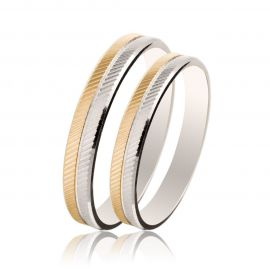 Two-Tone Wedding Rings with Diagonal Cuts