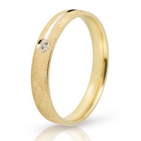 Σαγρέ Βέρα Γάμου με Λευκόχρυση Λεπτομέρια και Πέτρα