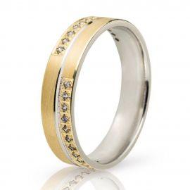 Πλακέ Βέρα Γάμου Χρυσή με Πέτρες