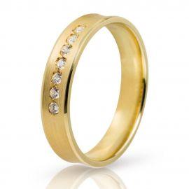 Χρυσή Βέρα Γάμου Ματ με Πέτρες