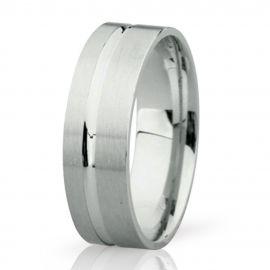 Handmade Flat Court White Gold Wedding Ring