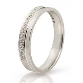Λευκόχρυση Βέρα Γάμου με Πέτρες