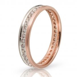 Wedding Ring in White Gold and Rose Gold with Stones