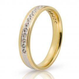 Βέρα Γάμου Χρυσή και Λευκόχρυση με Πέτρες