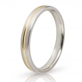Λευκόχρυση Βέρα Γάμου με Χρυσή Λεπτομέρεια
