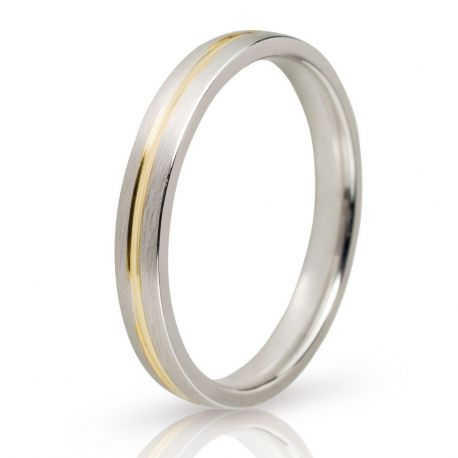 White Gold Wedding Ring with Gold Groove
