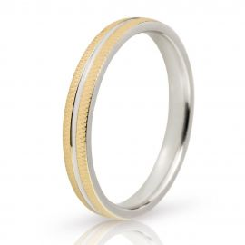 Σκαλιστή Χρυσή Βέρα Γάμου με Λευκόχρυση Λεπτομέρεια