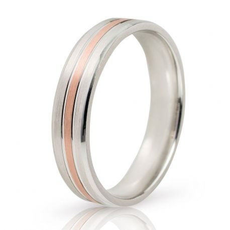 Two-Tone Wedding Ring in White Gold and Rose Gold