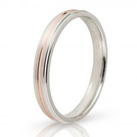 White Gold Wedding Ring with Central Rose Gold Groove