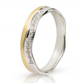 Βέρα Γάμου Στέμμα με Πέτρες από Χρυσό και Λευκόχρυσο