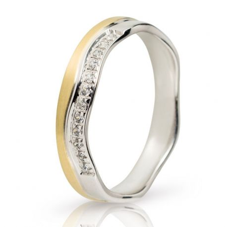 Crown Wedding Ring in White Gold and Gold with Stones