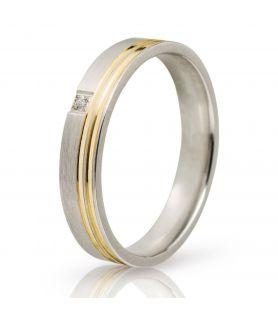 Λευκόχρυση Βέρα Γάμου Σατινέ με Χρυσή Λεπτομέρια και Πέτρα