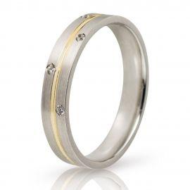Βέρα Γάμου Λευκόχρυση με Χρυσή Λεπτομέρεια και Πέτρες
