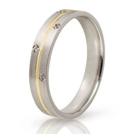 Βέρα Γάμου Λευκόχρυση με Χρυσή Λεπτομέρια και Πέτρες