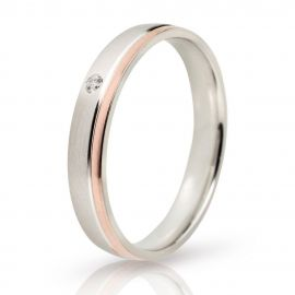 Bevelled Edge Matte Wedding Ring in White Gold and Rose Gold