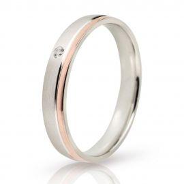 Λευκόχρυση Ματ Βέρα Γάμου με Λουστρέ Λεπτομέρεια από Ροζ Χρυσό