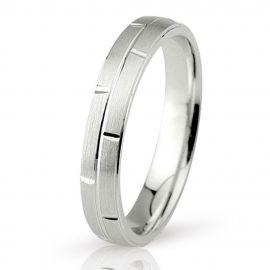 Engraved Matte White Gold Wedding Ring