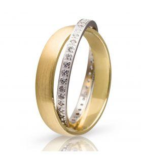 Χρυσή Βέρα Γάμου Ματ με Λευκόχρυση Βέρα με Πέτρες