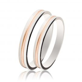 Λουστρέ Βέρα Γάμου από Λευκό και Ροζ Χρυσό