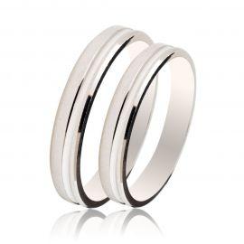 Bevelled Edge Matte Wedding Rings in White Gold