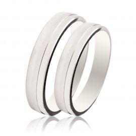 Polish Finished Matte White Gold Wedding Rings