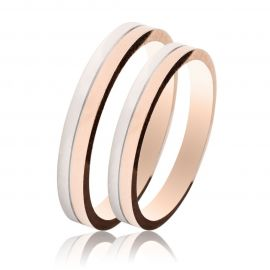 Handmade Wedding Rings in White Gold and Rose Gold