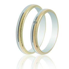 Bull Βέρα Γάμου από Λευκό και Κίτρινο Χρυσό