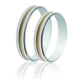 Two-Tone Wedding Rings in White Gold and Yellow Gold