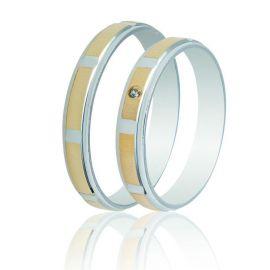 Λευκόχρυση Βέρα Γάμου με Χρυσές Σατινέ Λεπτομέρειες