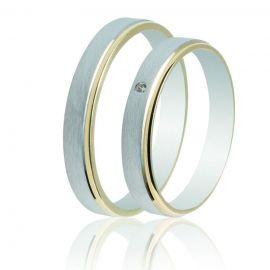 Δίχρωμη Βέρα Γάμου Λευκόχρυση με Χρυσή Λεπτομέρεια