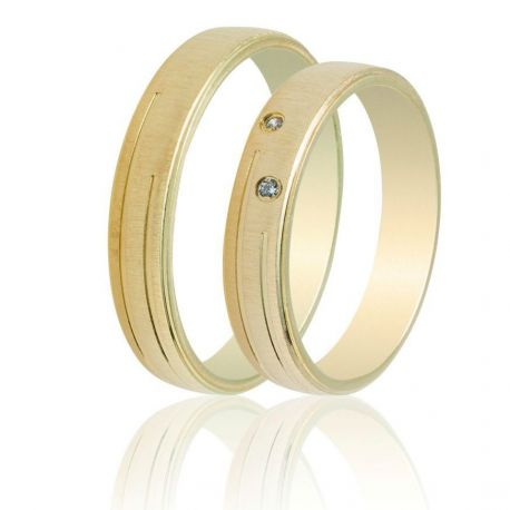 Matte Gold Wedding Rings with Stones