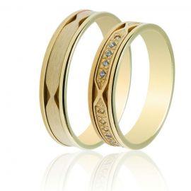 Χρυσή Βέρα Γάμου με Σκάλισμα και Πέτρες