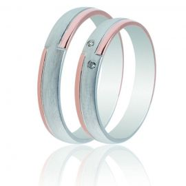 Λευκόχρυση Βέρα Γάμου με Ροζ Χρυσές Λεπτομέριες και Πέτρες